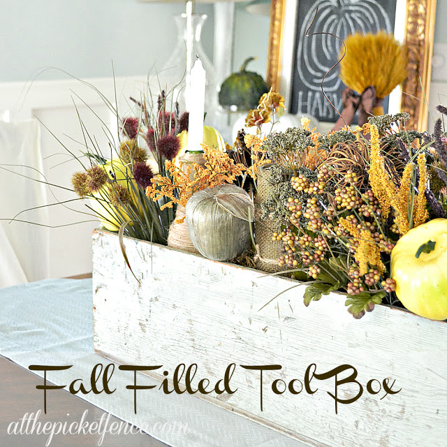 Vintage Tool Box Turned Frugal Fall Centerpiece