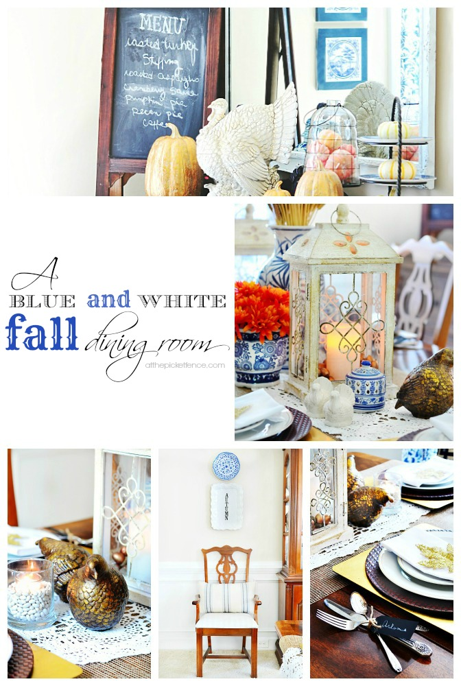 A Blue and White Fall Dining Room