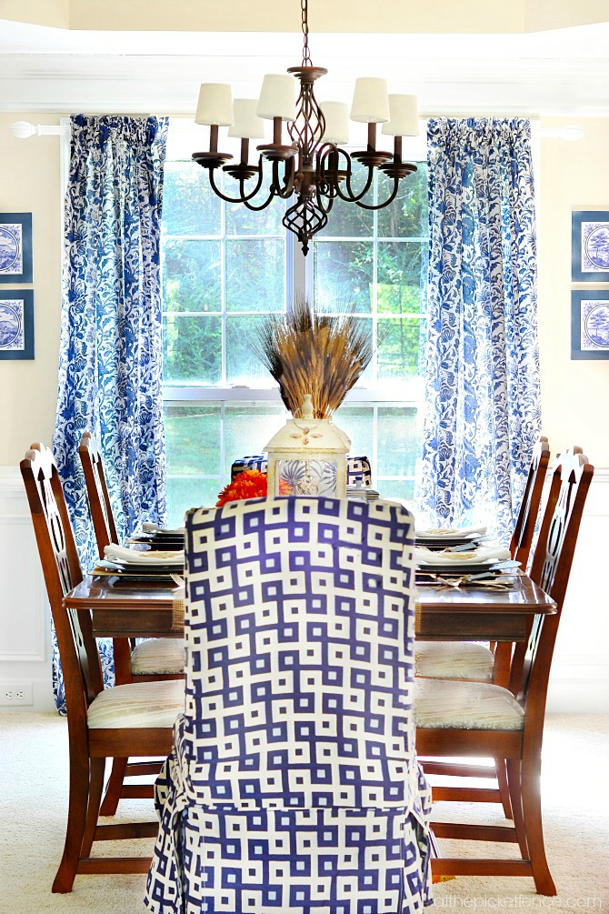 Blue and White Fall Dining Room 1