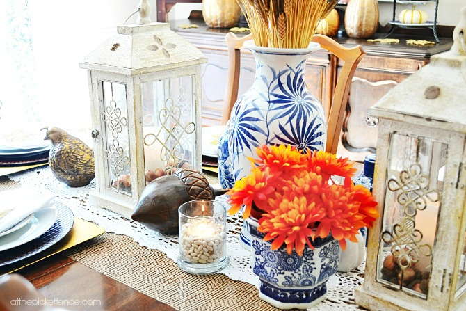 Blue and White Fall Dining Room with pops of orange