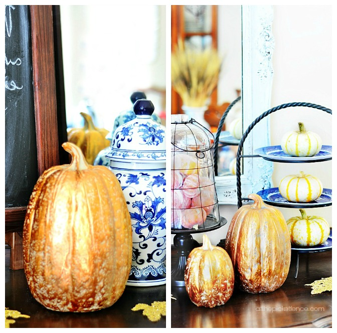 Blue and White Fall Sideboard Details