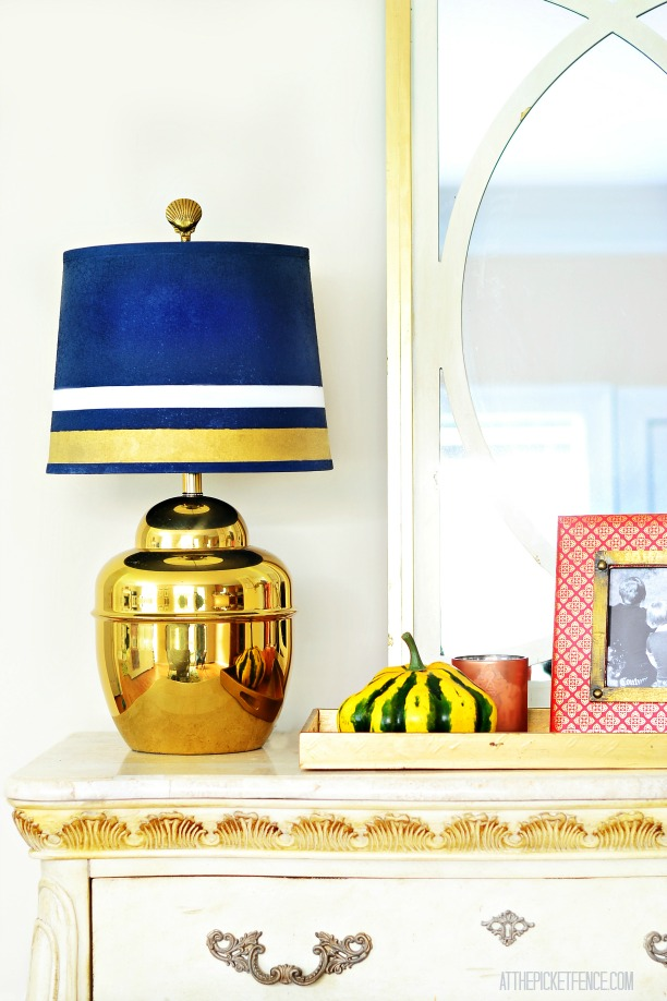 Brass Lamp Makeover with spray paint and gilded lamp shade 1