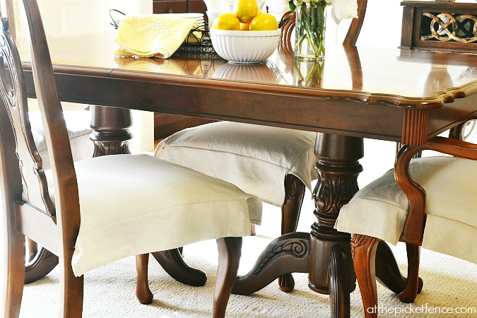 Drop Cloth slipcovered dining room chairs atthepicketfence.com