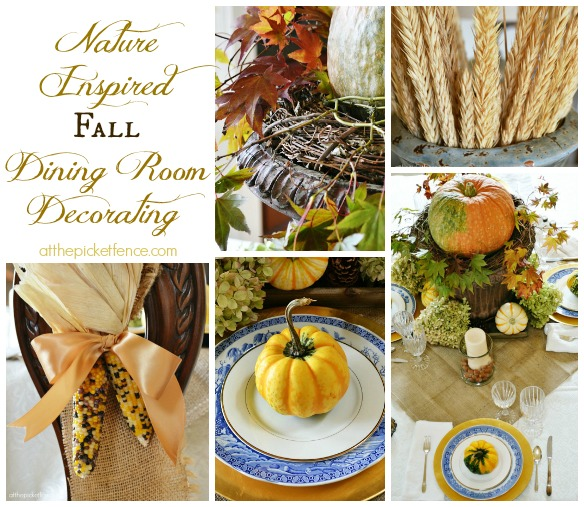 Nature Inspired Fall Dining Room Decorating Ideas from atthepicketfence.com