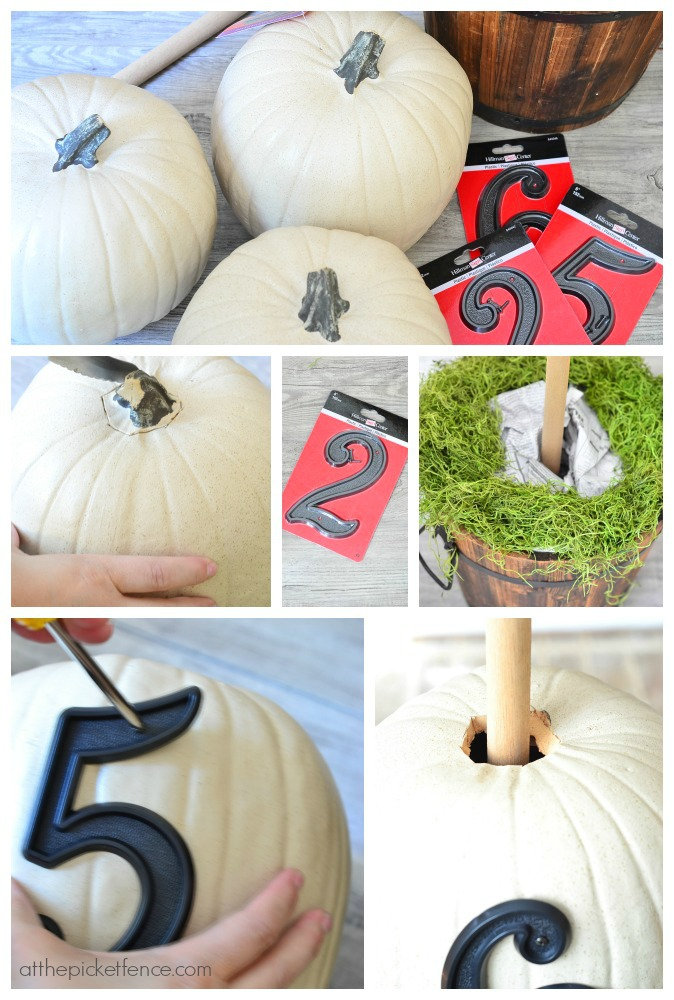 House Numbers Pumpkin Topiary Tutorial