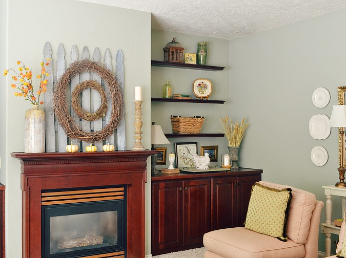 Fall family room and mantel decorating from atthepicketfence.com