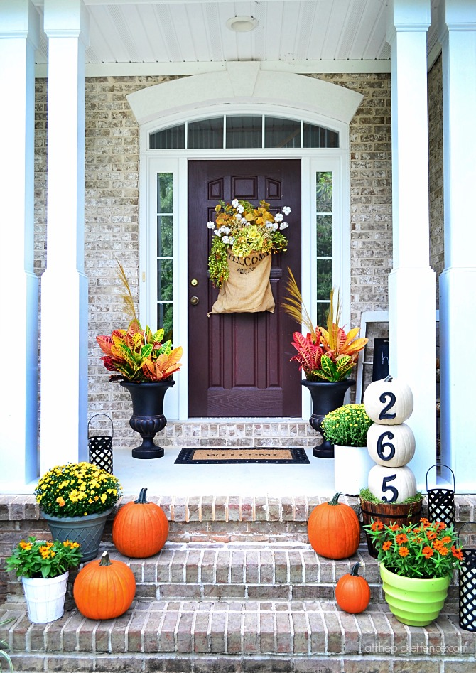 Our fall home tours finding fall bhg at the picket fence Small front porch decorating ideas for fall