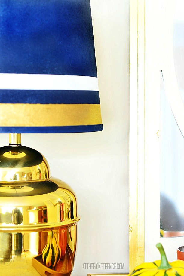 brass lamp makeover with spray painted and gilded lampshade