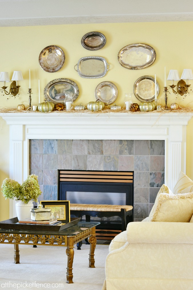 Fall Living Room with vintage platter mantel from atthepicketfence.com