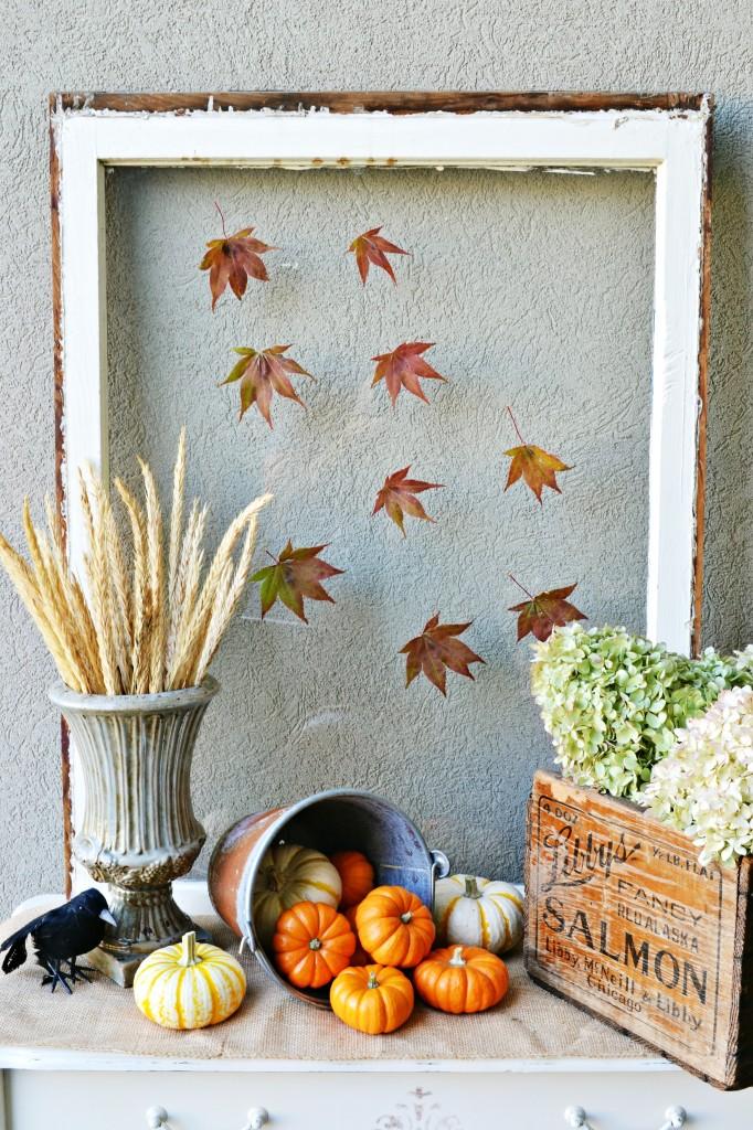 falling leaves window pane