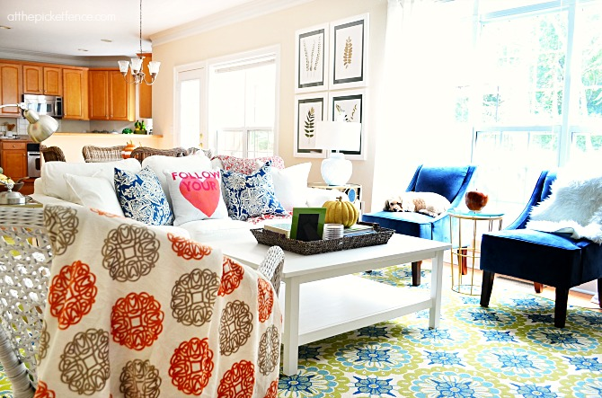 family room with touches of fall