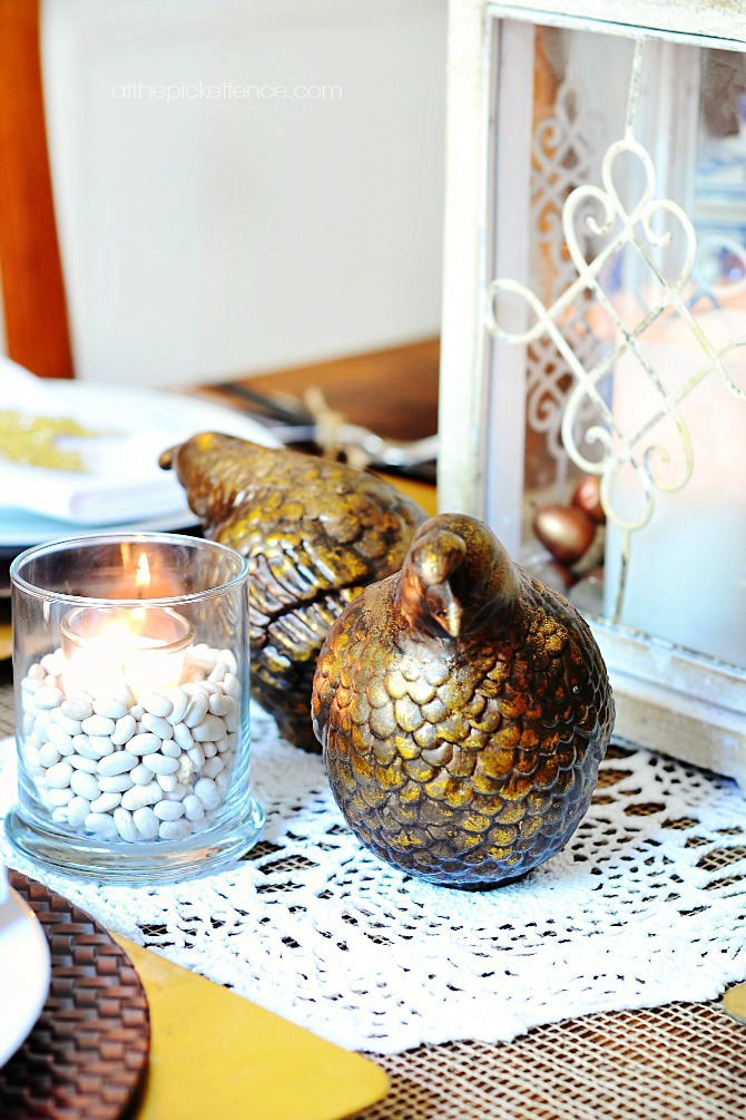 gold burnished pheasants in fall tablescape