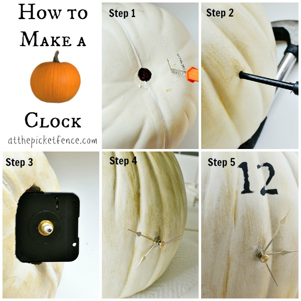Step by step instructions for making a pumpkin clock from atthepicketfence.com