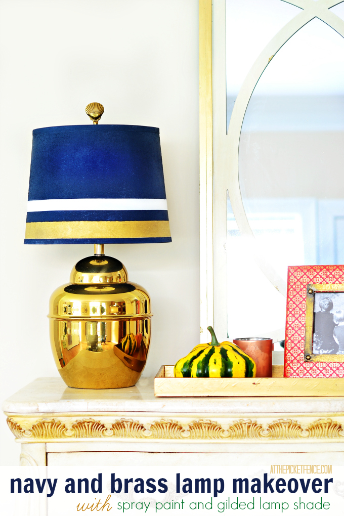 Brass lamp makeover gilded and spray painted lamp shade at the navy and brass lamp makeover with painted lamp shade aloadofball Gallery
