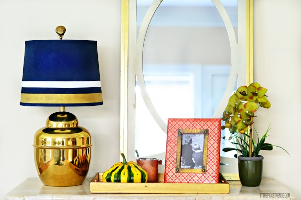 navy and brass lamp makeover with spray paint and gilded lamp shade 2