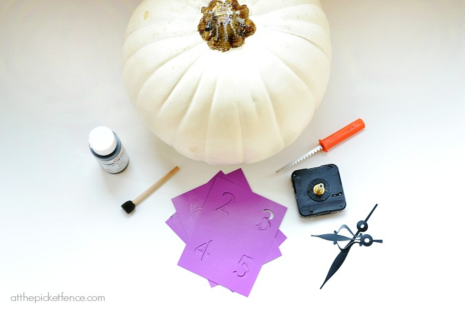 How to make a Pumpkin Clock supplies from atthepicketfence.com
