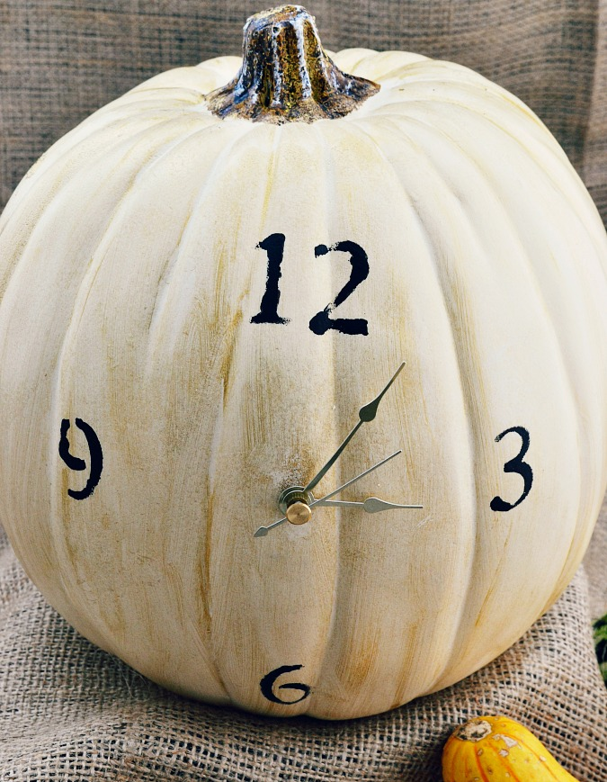 Pumpkin with working clock and stenciled numbers from atthepicketfence.com
