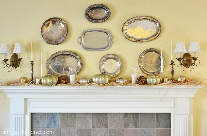Silver platter fall mantel from atthepicketfence.com