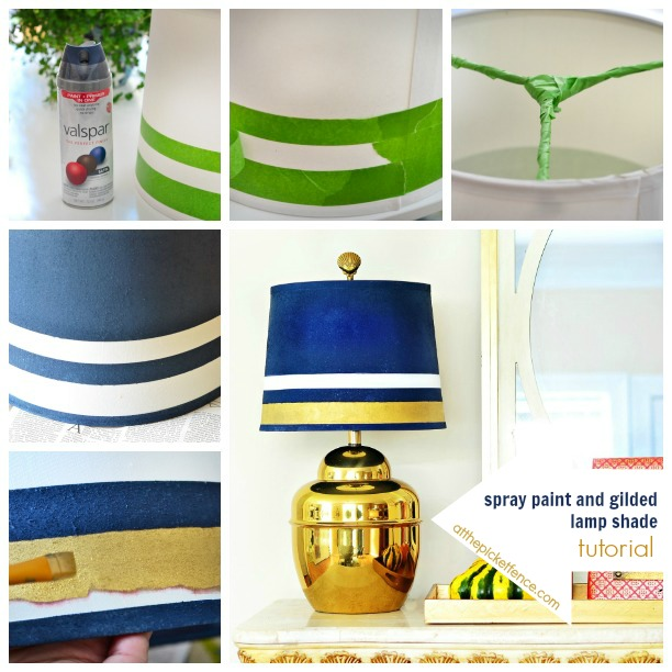 spray paint and gilded lamp shade makeover tutorial