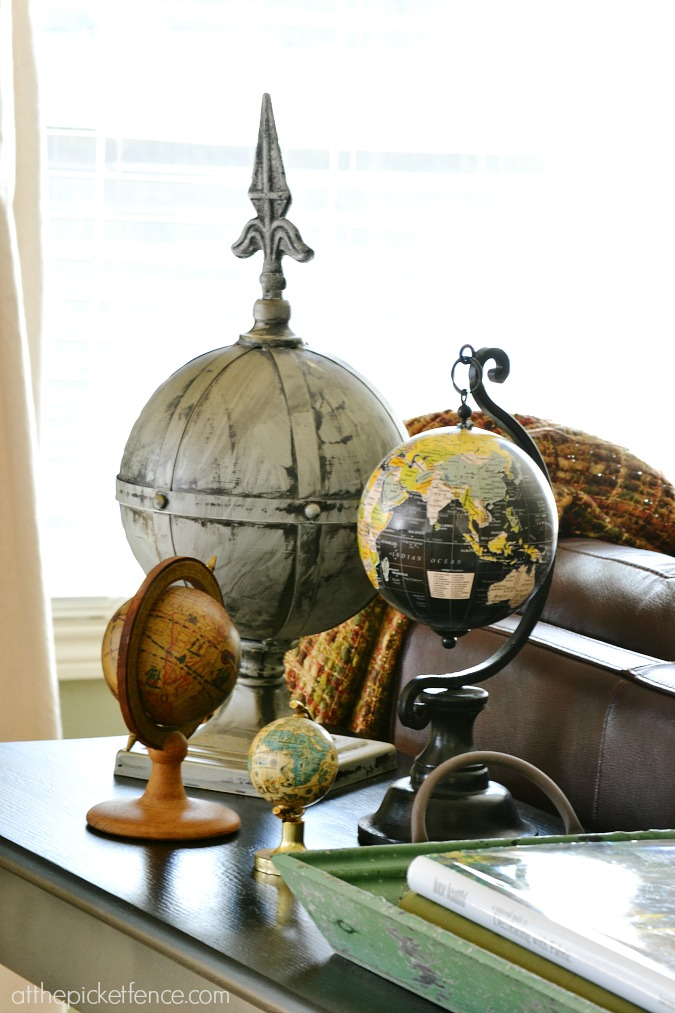 Vintage globe collection from atthepicketfence.com