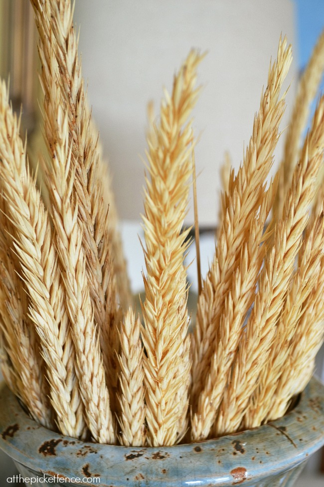 wheat in an urn for fall decor