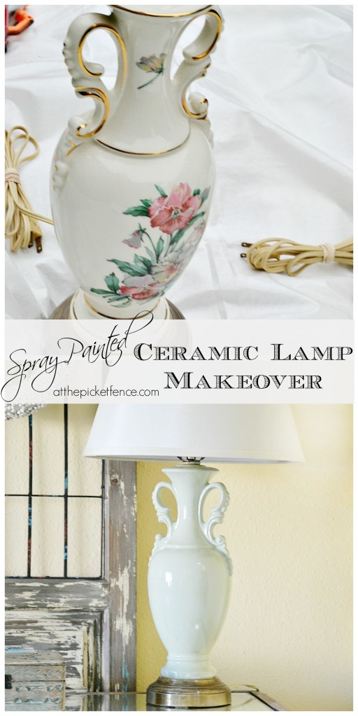 Before and After Spray Painted Ceramic Lamp Makeover from atthepicketfence.com