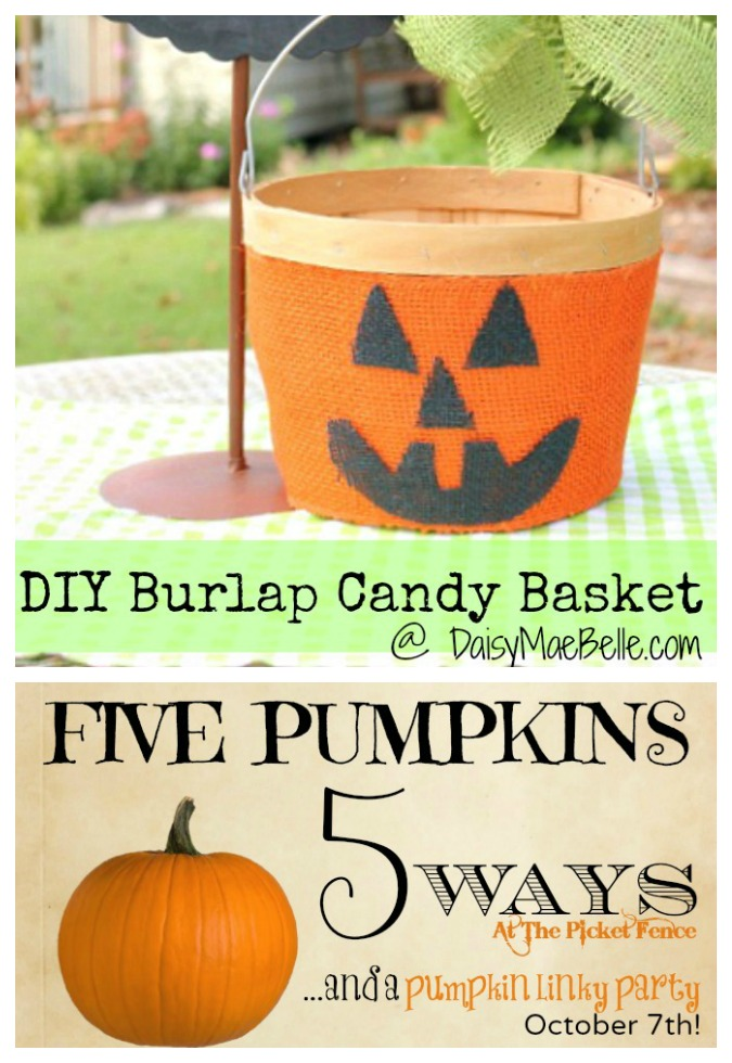 5 Pumpkins 5 Ways ~ Burlap Pumpkin Basket