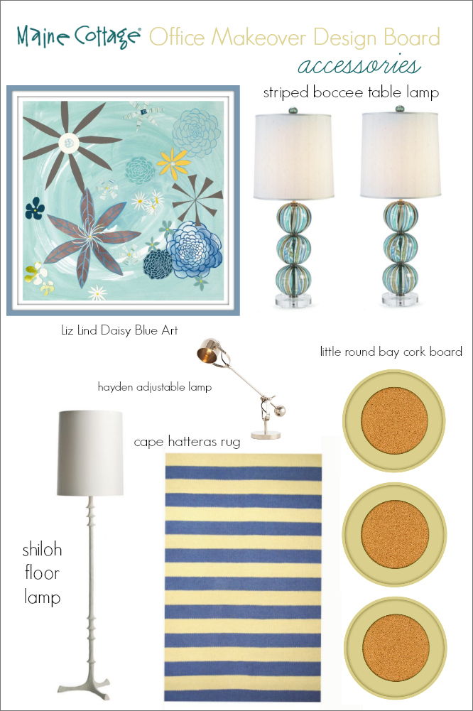 Main Cottage Office Makeover Design Board accessories