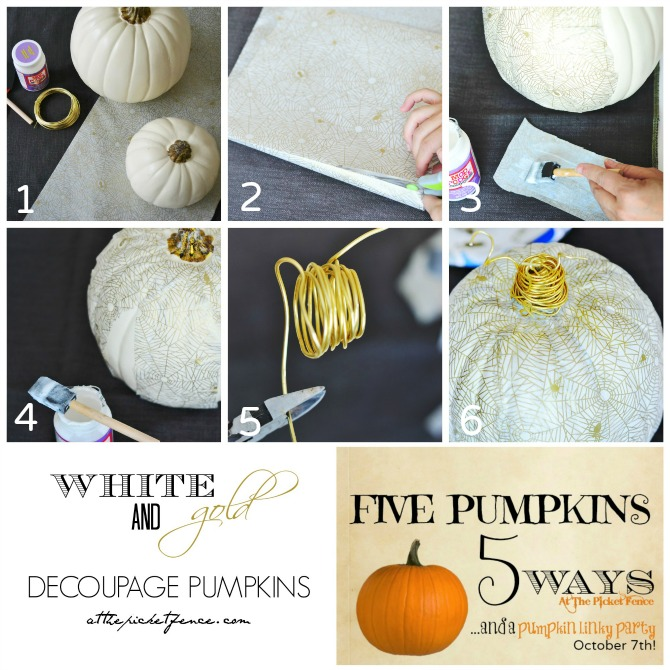 White and Gold Decoupage Pumpkins Tutorial