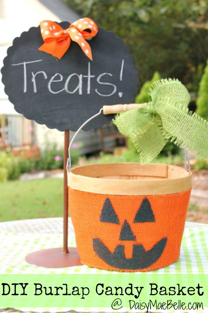 DIY Burlap Pumpkin Candy Basket from Daisy Mae Belle