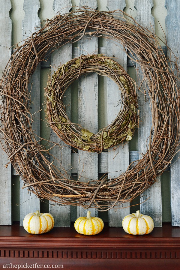 double-grapevine-wreaths-fall-mantel