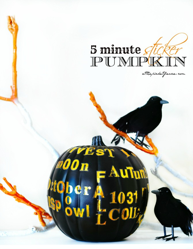 five minute sticker pumpkin