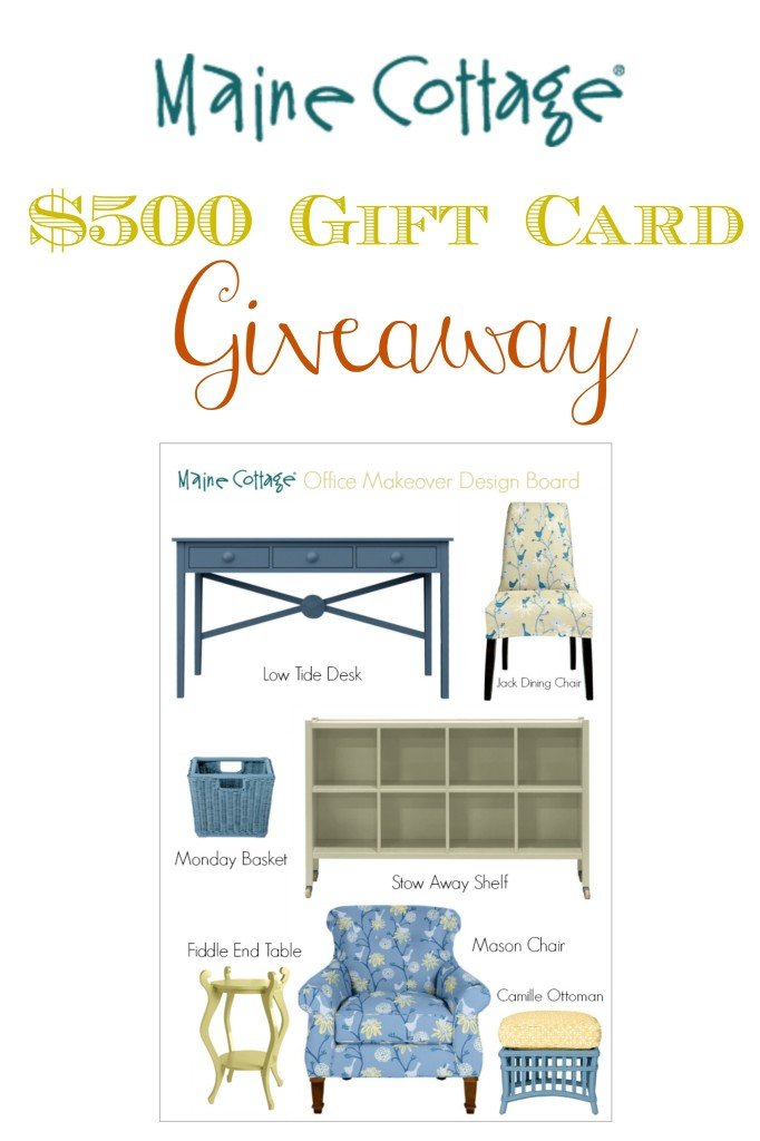 $500 Maine Cottage Gift Card giveaway from Atthepicketfence.com