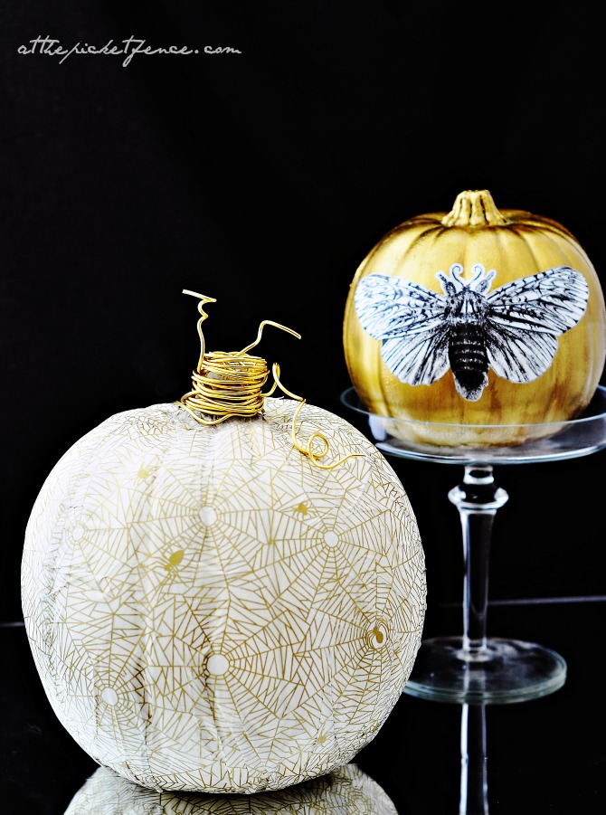 white and gold decoupage pumpkins