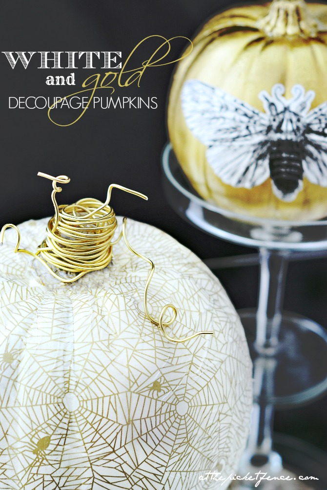 5 Pumpkins 5 Ways ~ white & gold decoupage pumpkins