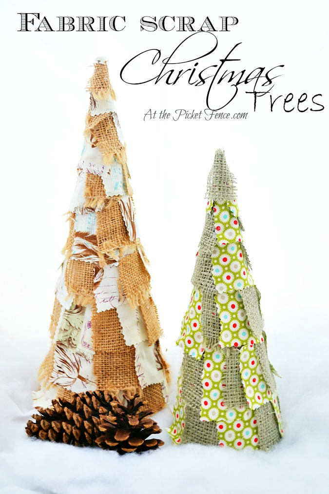 Fabric Scrap Christmas Trees from atthepicketfence.com