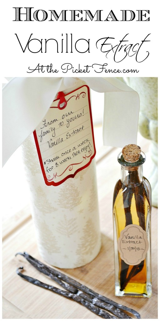 Homemade-vanilla-extract gifts from atthepicketfence.com