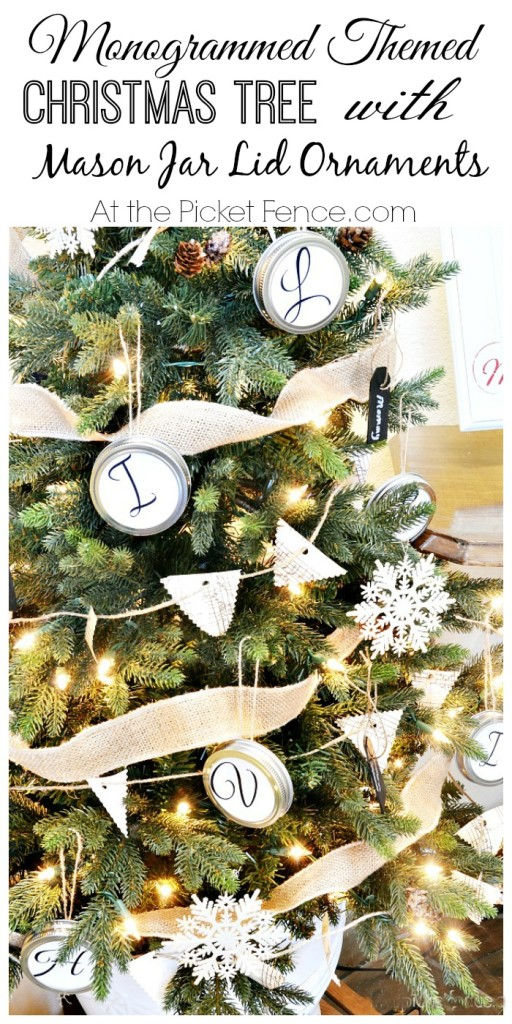 Monogrammed themed Christmas tree from atthepicketfence.com