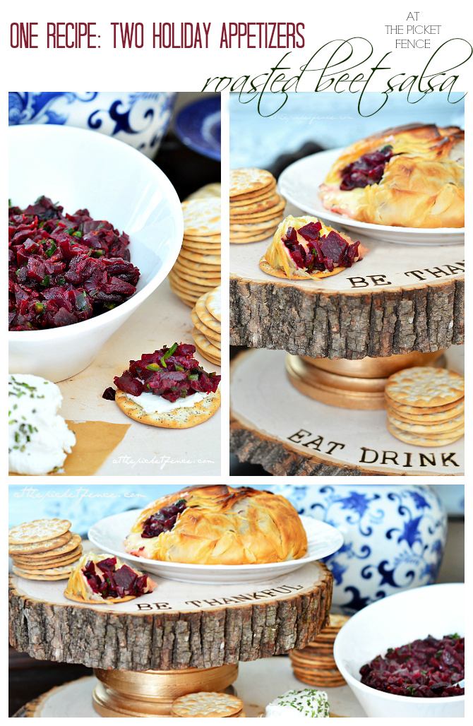 One recipe two holiday appetizers using canned roasted beets!