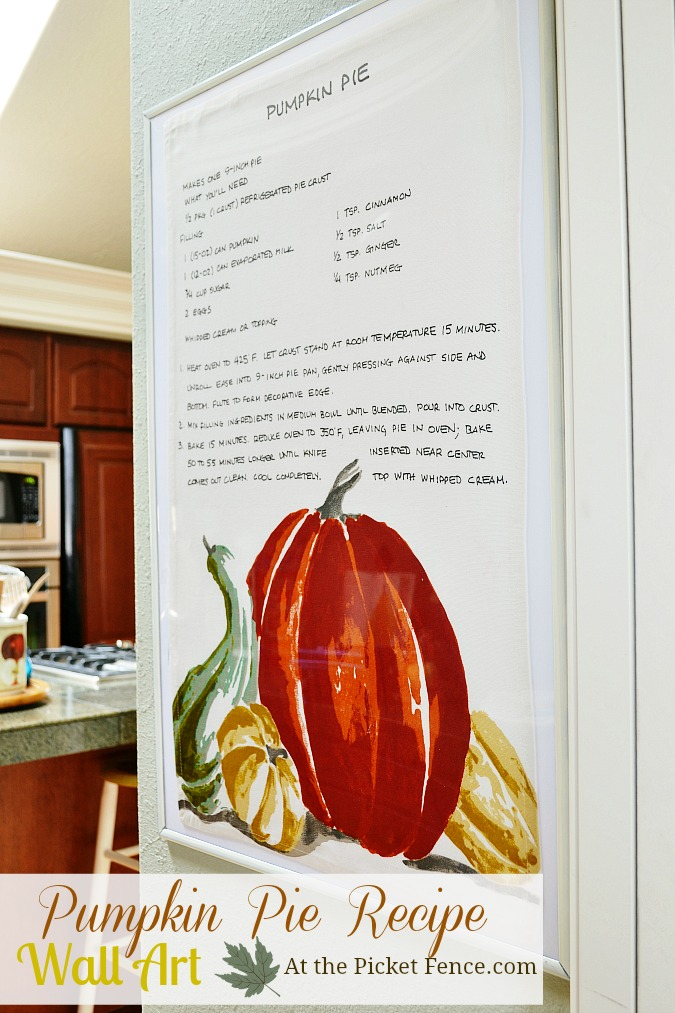 A recipe for pumpkin pie printed on a kitchen towel becomes beautiful and inexpensive holiday artwork.