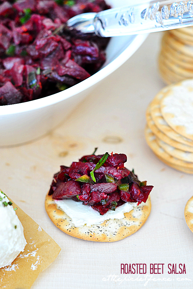 You can use canned beets to create this Roasted Beet Salsa Appetizer