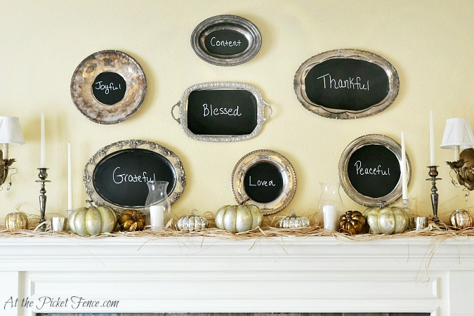 Thankful platters Thanksgiving mantel atthepicketfence.com