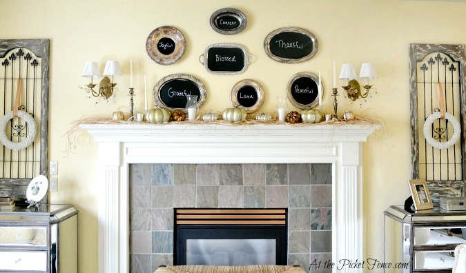 Thanksgiving Mantel Decor from atthepicketfence.com