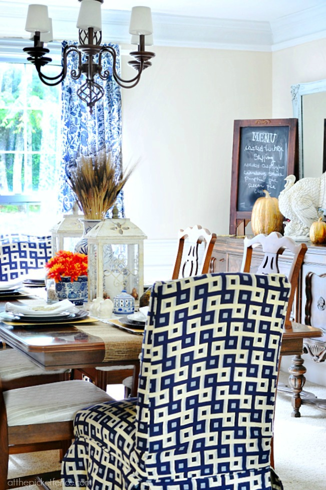 blue and white fall dining room