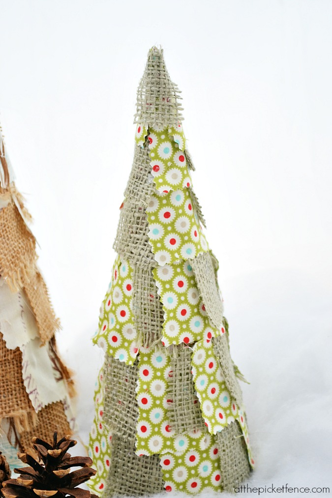 green fabric scrap Christmas tree