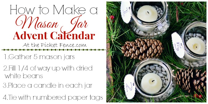 how to make a mason jar advent calendar from atthepicketfence.com