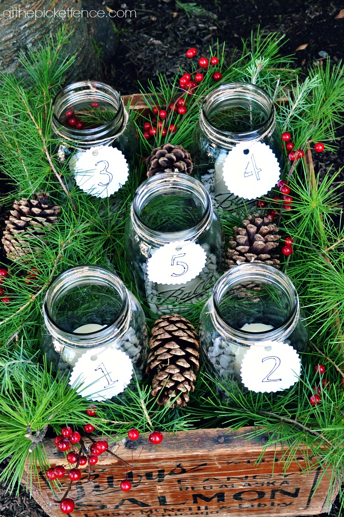 mason jars in vintage crate advent calendar