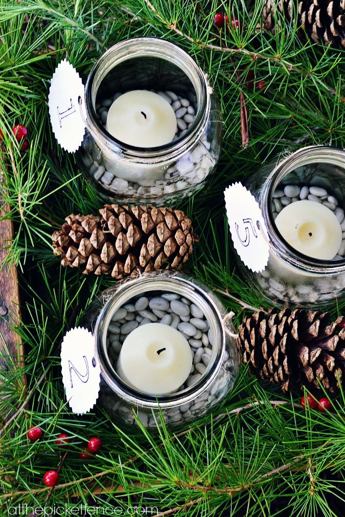 numbered tags on mason jar advent calendar