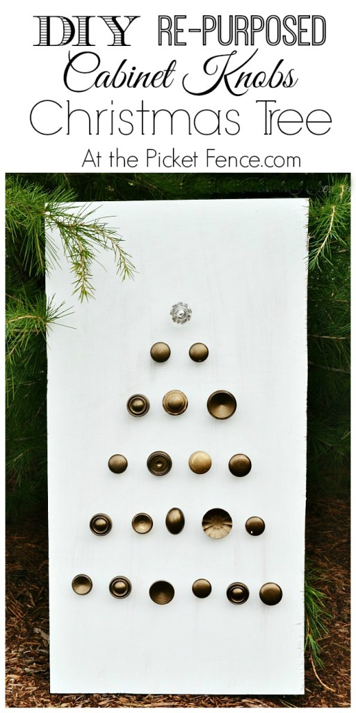 DIY Re-purposed cabinet knobs Christmas tree from atthepicketfence.com