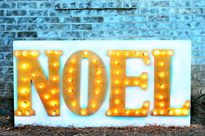 DIY outdoor holiday lighted marquee sign